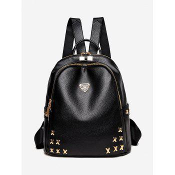 Metal Embellished Zippers Backpack - BLACK BLACK