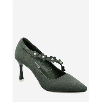 Flowers Pointed Toe Faux Pearls Pumps