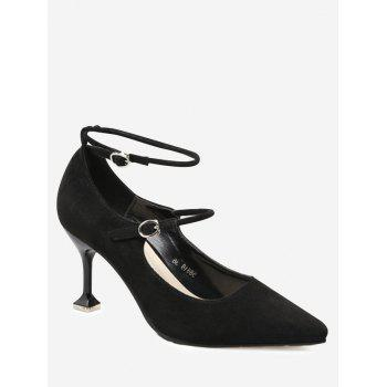 Pointed Toe Double Buckle Strap Pumps