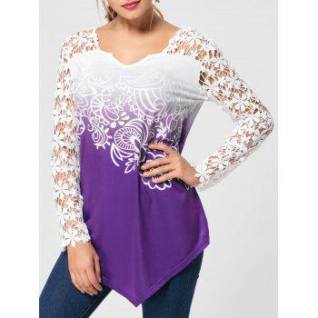 Lace Yoke Ombre Long Sleeve Blouse