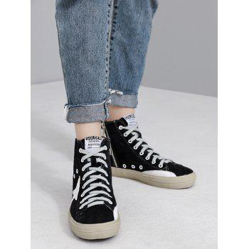 Eyelets Color Block Zipper Athletic Shoes - Noir 37