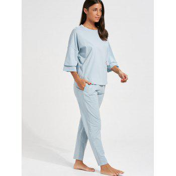 Batwing Sleeve Pajamas Set with Pocket - CLOUDY CLOUDY