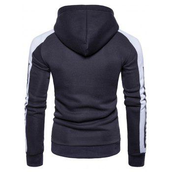 Graphic Print Color Block Panel Fleece Hoodie - DEEP GRAY DEEP GRAY