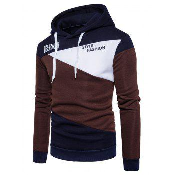 Graphic Fleece Color Block Panel Hoodie - COFFEE COFFEE