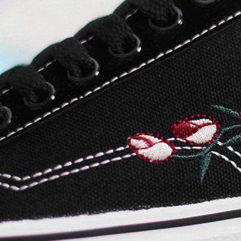 Embroidery Flower Canvas Shoes - BLACK BLACK