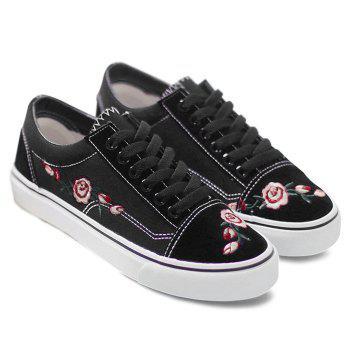 Embroidery Flower Canvas Shoes - BLACK 40