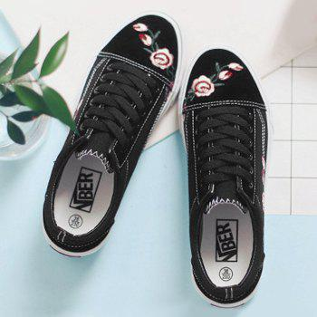 Embroidery Flower Canvas Shoes - 40 40