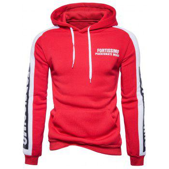 Graphic Print Color Block Panel Fleece Hoodie - RED S