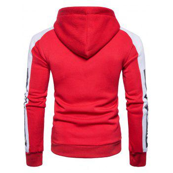 Graphic Print Color Block Panel Fleece Hoodie - S S