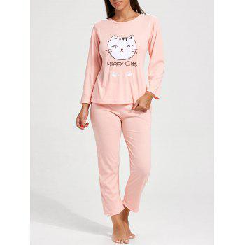 Cat Graphic Long Sleeves Pajamas Set - LIGHT PINK 2XL