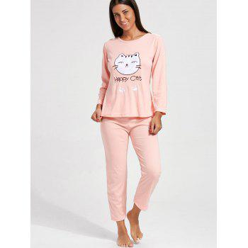 Cat Graphic Long Sleeves Pajamas Set - 2XL 2XL