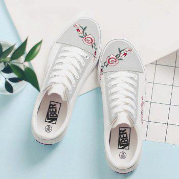 Embroidery Flower Canvas Shoes - WHITE 38