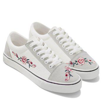 Embroidery Flower Canvas Shoes - WHITE WHITE