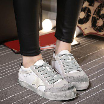 Color Blocking Star Lace Up Sneakers - Gris 37