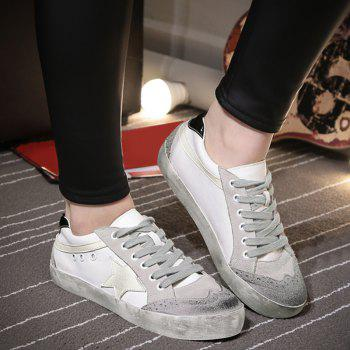 Color Blocking Star Lace Up Sneakers - Gris 38