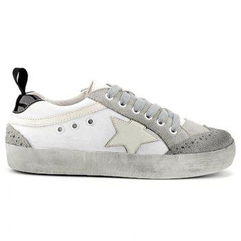 Color Blocking Star Lace Up Sneakers - GRAY GRAY