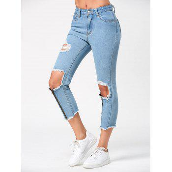 High Waist Capri Torn Jeans with Zipper