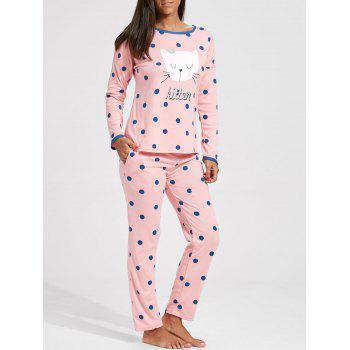 Polka Dot Cat Graphic Pajamas Set