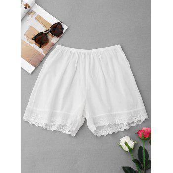 Elastic Waist Embroidered Hem Pajamas Shorts