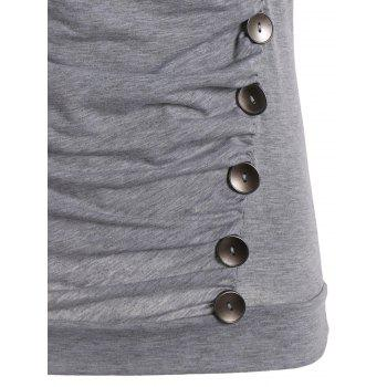 Drape Neck Side Button Tank Top - GRAY M