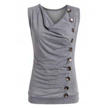 Drape Neck Side Button Tank Top - GRAY XL