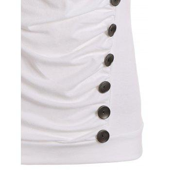 Drape Neck Side Button Tank Top - WHITE XL