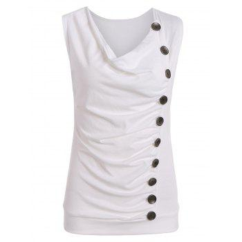 Drape Neck Side Button Tank Top - WHITE L