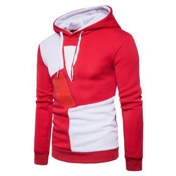 Color Block Panel PU Leather Fleece Hoodie