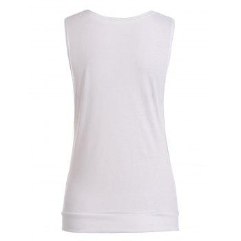 Drape Neck Side Button Tank Top - WHITE WHITE