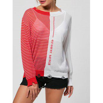 Color Block Striped See Through Sweater