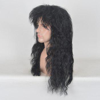 Long Side Bang Fluffy Natural Wave Rocker Men Wig - BLACK