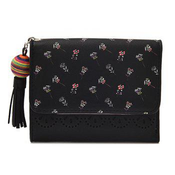 Tassel Flower Design Tri Fold Wallets - BLACK BLACK