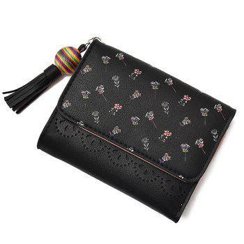 Tassel Flower Design Tri Fold Wallets -  BLACK
