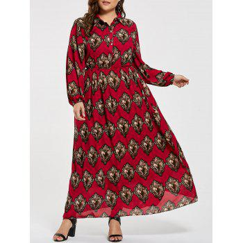 Printed Plus Size Elastic Waist Maxi Shirt Dress
