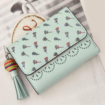 Tassel Flower Design Tri Fold Wallets - GREEN