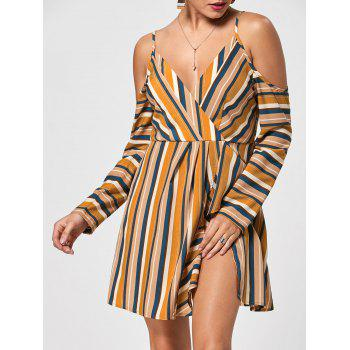 Cold Shoulder Striped Side Slit Dress