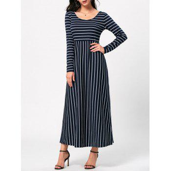 Long Sleeve Empire Waist Striped Maxi Dress