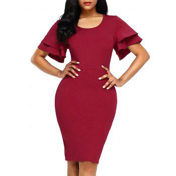 Layered Sleeve Back Slit Bodycon Dress