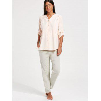 Ensemble de pyjama en coton à boutons en coton - Orange Rose XL