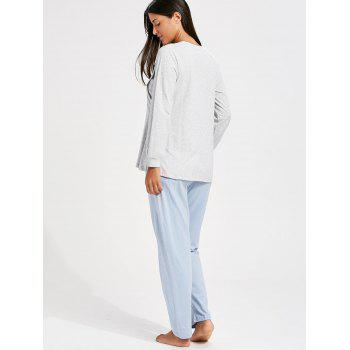 Cotton Long Sleeve Nursing Pajamas Set - XL XL