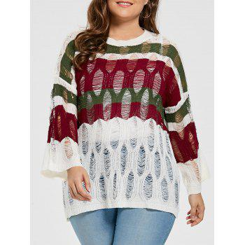See Through Plus Size Stripe Ripped Sweater