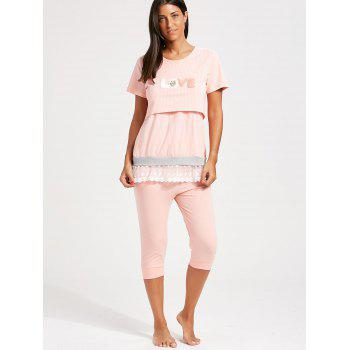 Stripe Lace Trim Nursing Pajamas Set - L L