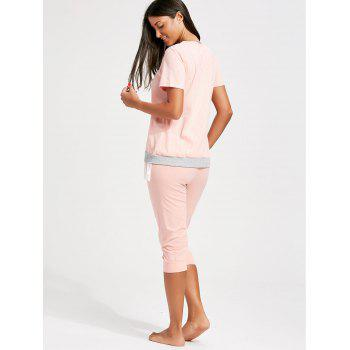 Stripe Lace Trim Nursing Pajamas Set - ORANGEPINK M