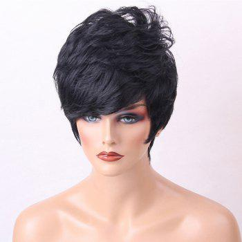 Short Inclined Bang Layered Shaggy Slightly Curly Human Hair Wig - BLACK