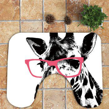 Nonslip Giraffe Pattern 3Pcs Bath Toilet Mats Set - WHITE/BLACK
