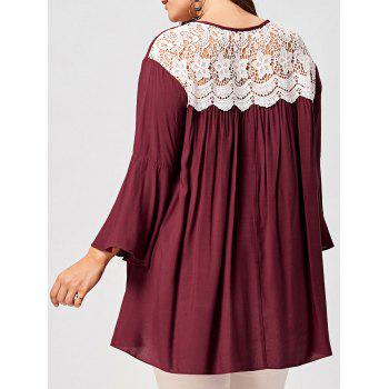 Plus Size Lace Panel Keyhole Blouse