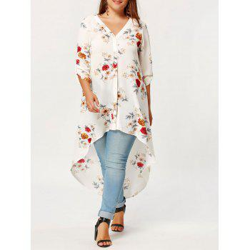 High Low Plus Size Maxi Floral Shirt