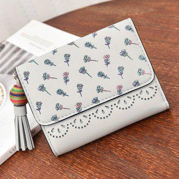 Tassel Flower Design Tri Fold Wallets -  GRAY