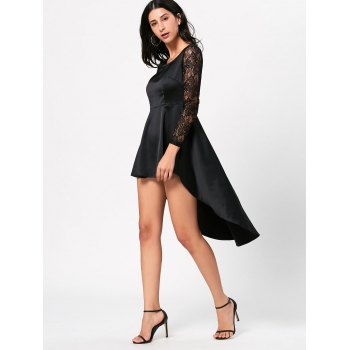 Lace Sleeve Little Black High Low Dress - BLACK BLACK