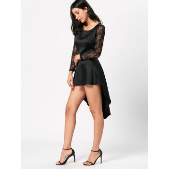 Lace Sleeve Little Black High Low Dress - BLACK XL